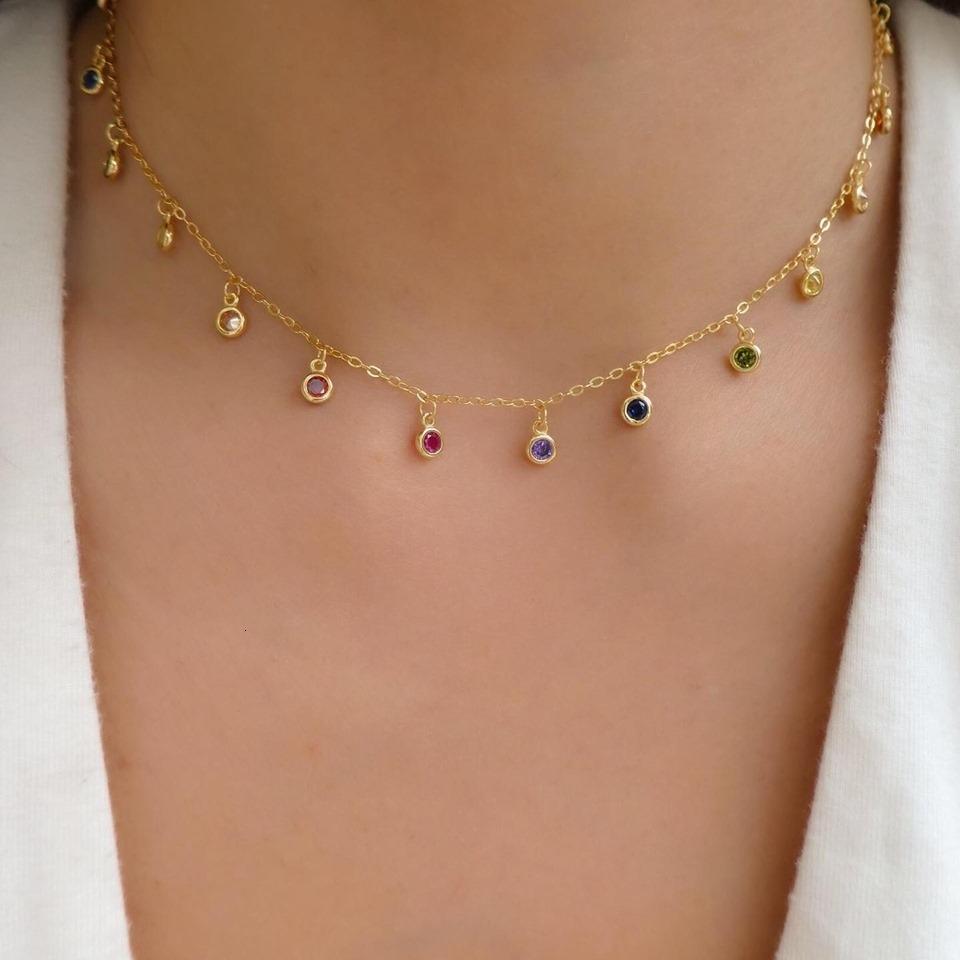 CZ круглый ободок Капельное ожерелье 925 стерлингового серебра Dainty Chandalier отводками ожерелье золота заполнены деликатной радуги CZ колье V191212