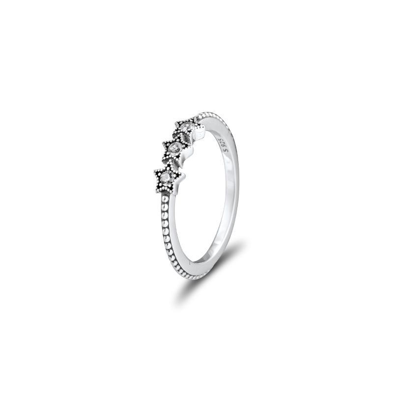 Ursprünglicher authentischer 100% Sterlingsilber 925 Schmuck Himmlische Stern Ring für Frauen-freies Verschiffen