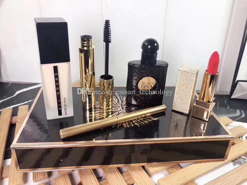 HOT Makeup Matte rouge a levre Lipstick + 30ml Perfume + Foundation+Mascara + Eyeliner 5pcs in 1 Maquillage Set