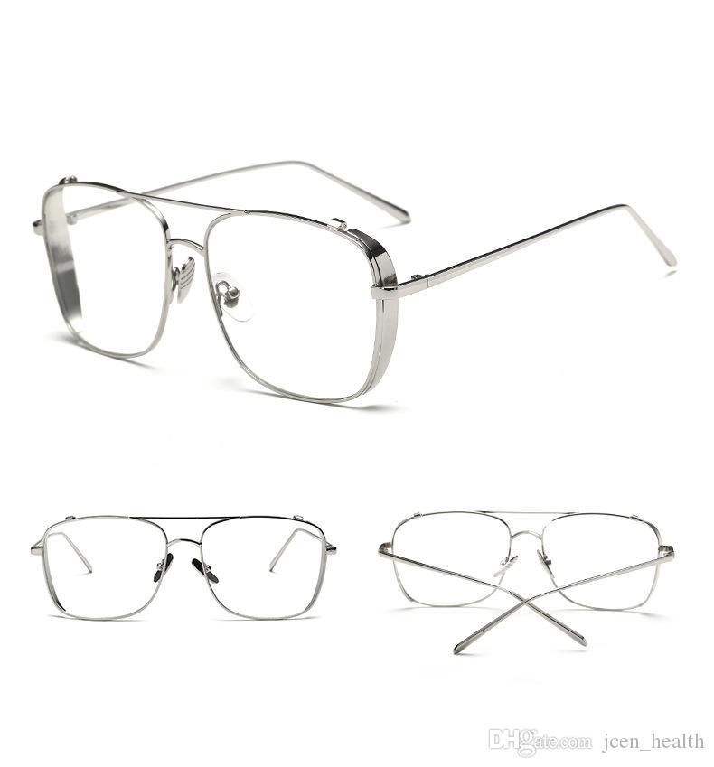 도매 2019 망 럭셔리 남성 빛나는 골드 핫 판매 유리 황금 실버 풀 프레임 빈티지 디자이너 클리어 렌즈 태양 안경 선글라스