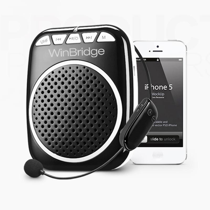 WinBridge Wireless-Sprachverstärker, bewegliches Mikrofon und Lautsprecher Wiederaufladbare Lautsprecher für den Unterricht, Schulungen, Treffen