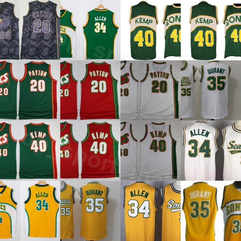 Männer Basketball Gary Payton Jersey 20 Kevin Durant 35 Shawn Kemp 40 Ray Allen 34 Alle genähtes Team Red Gelb Weiß Grün Hoch