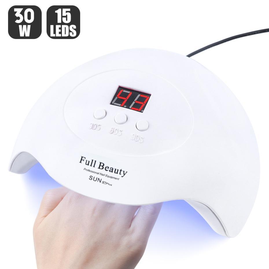 UV LED مسمار مصباح 30W / 9W USB مجفف أظافر لعلاج جميع جل ورنيش الأظافر آلة التجفيف أدوات 30S / 60S / 90S LASunX7Plus-1 CY200512