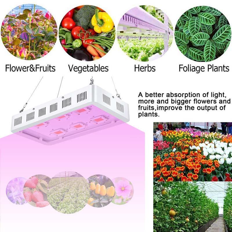 Luz de cultivo LED, luz de planta de interior, lámpara de crecimiento de espectro completo, luz de planta de interior para hidroponía de invernadero, verduras y flores