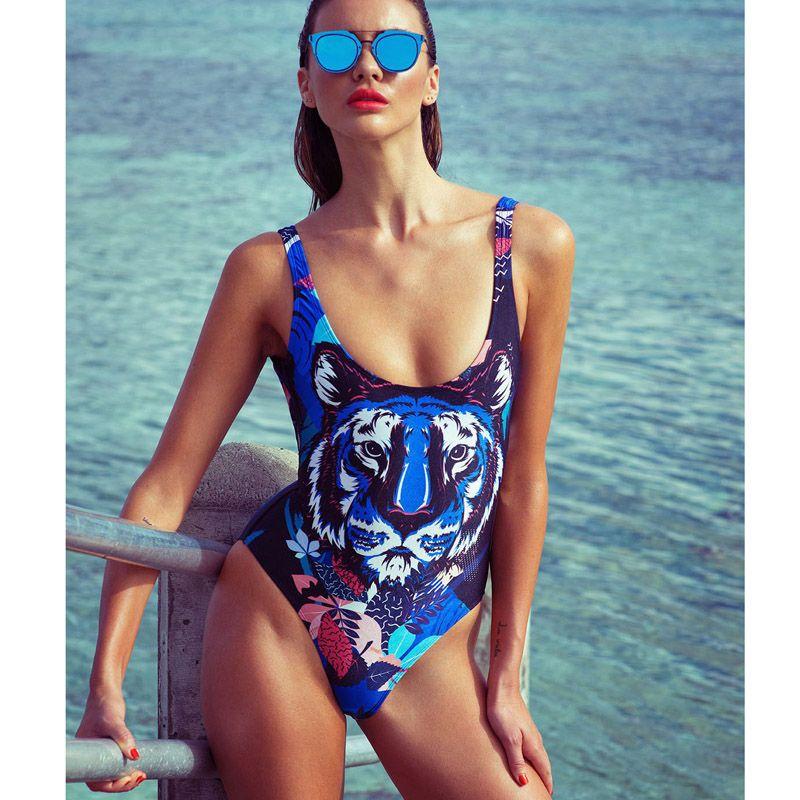 2019 Luxury Designer Tiger Print Swimsuit One Piece Swimwear for Women Swimming Jumpsuits Monokini Bodysuits Lady Swim Wear Bathing Suit