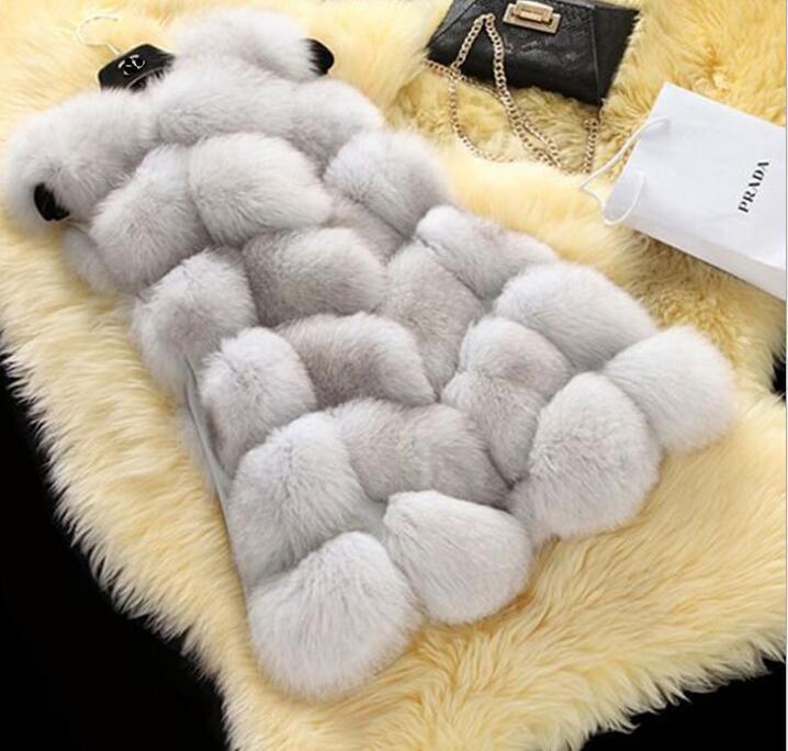 Autunno inverno nuove donne calde imitazione giacca di pelliccia di lunghezza media cucitura capispalla gilet cappotto di pelliccia del cappotto senza maniche