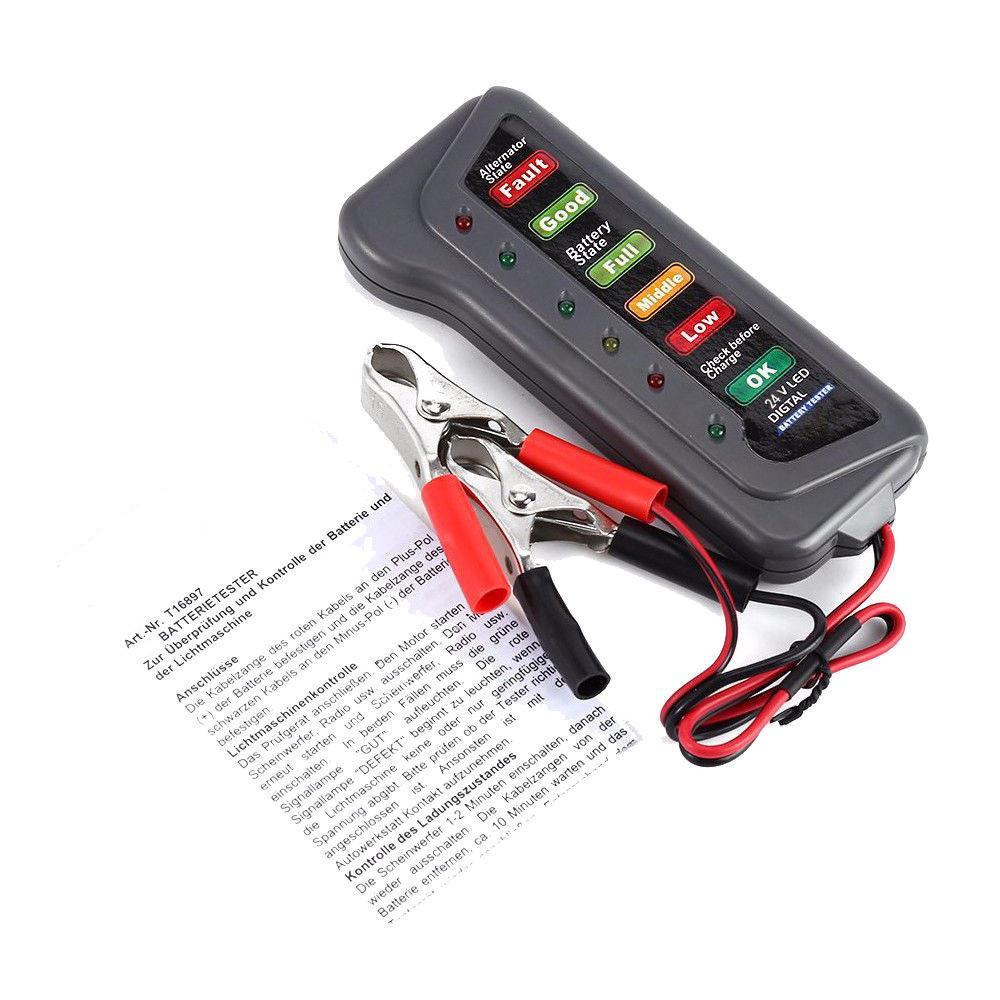 6 / 24V Автомобильный цифровой батареи генератора переменного тока тестер 6 Светодиодные лампы Дисплей диагностический инструмент Генератор Auto Battery Analyzer # 30
