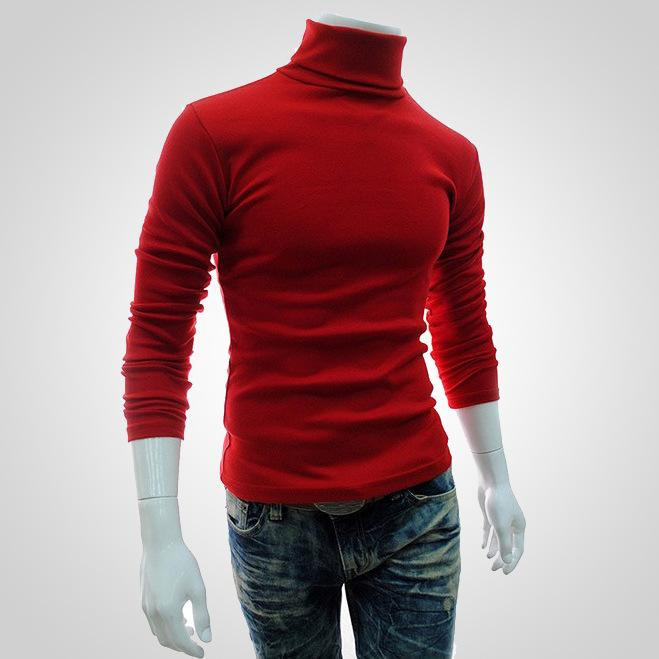 2019 New Autumn Winter Men Sweater Men Turtleneck Solid Color Casual Pullover Men's Slim Fit Brand Knitted Sweaters Men Knitwear