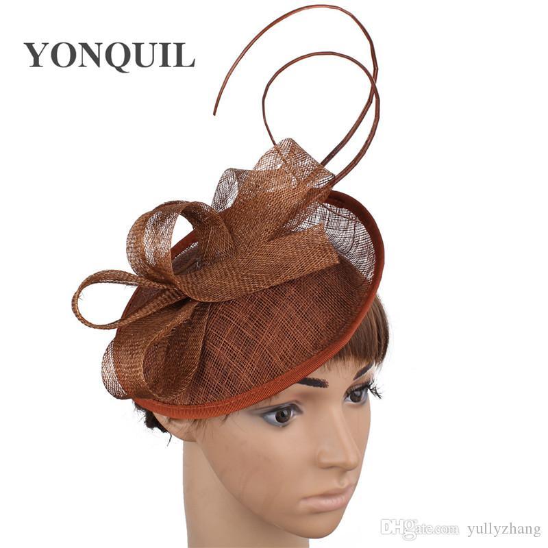 Tüm sezon MYQ079 için Keten Tüyler Fascinator saç bantlarında kadın düğün gelin şapkaya doğum günü saç aksesuarları kilise başlık takım