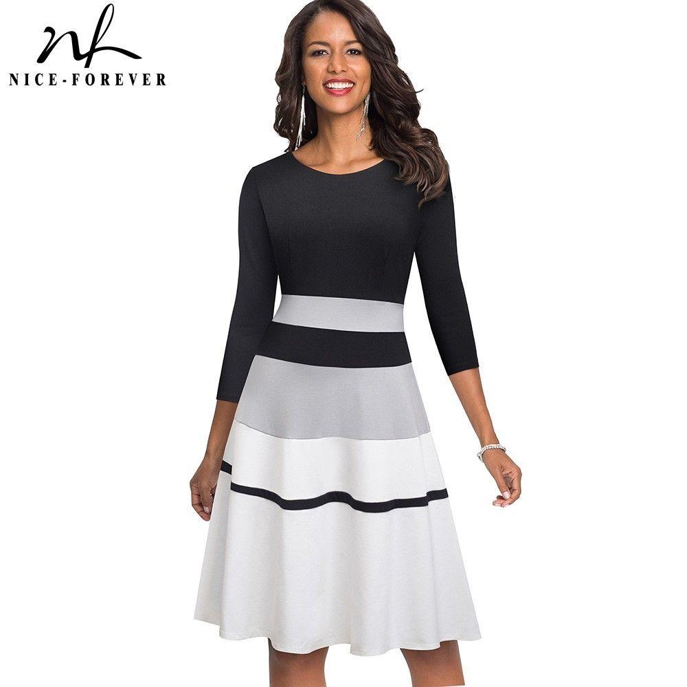 Nice-sonsuza Retro Şık Kontrast Renk patchwork vestidos İş Parti Flare A-Line Kadınlar Kış Elbise A173 MX200508