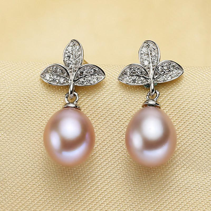 ASHIQI Authentic 100% 925 sterling silver Natural Freshwater Pearl Drop Earrings AAA ZC Leaf for Women Gift Drop shipping