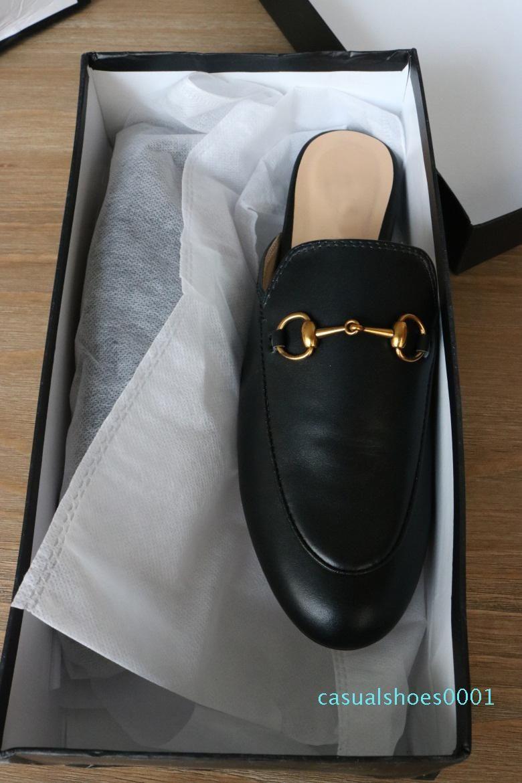 zapatillas de diseño las mujeres zapatos de cuero genuino mulas plana mulas cadena de metal de los zapatos ocasionales de los holgazanes de moda al aire libre Zapatillas Damas AY17