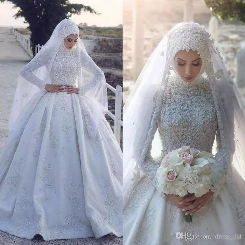 Discount 2019 Pattern Modest Muslim Wedding Dresses High Neck Long Sleeves  Chapel Train White Pearls Beaded Lace Muslimah Turkey Bridal Gowns Dubai