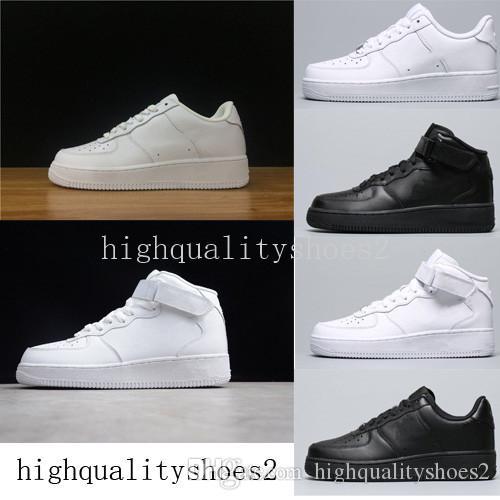 2019  Force one 1 Af1 الكلاسيكية جميع أبيض أسود رمادي المنخفضة قطع عالية من الرجال والنساء الرياضة أحذية رياضية أحذية تزلج واحد الولايات المتحدة 5،5 حتي 12