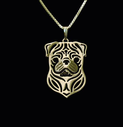 G.SKY Dog Necklace Handmade Pug Necklace Carved Hollow Pendant Jewelry Silver/golden Colors Plated In Stock Fast Delivery
