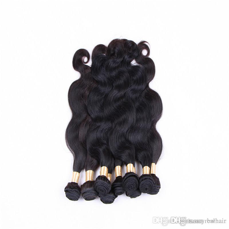 Body Wave Hair Weft 3 Bundles 100% Human Hair Weaves Brazilian Peruvian Hair Extensions Natural Color 1b 12-28 Inches, Free DHL