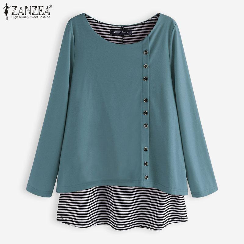 Taglie Camicie ZANZEA partito di modo delle donne della molla causale a maniche lunghe a righe patchwork di base T-Shirt Camicetta Femminile Blusas 7