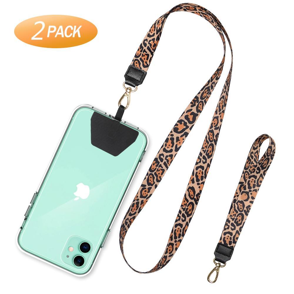 2020 Cable de teléfono del grano del leopardo Collar de cordón llavero cadena con correa para la muñeca Cuello cadena de la cuerda del teléfono Accesorios Elementos de amarre para Smartphone
