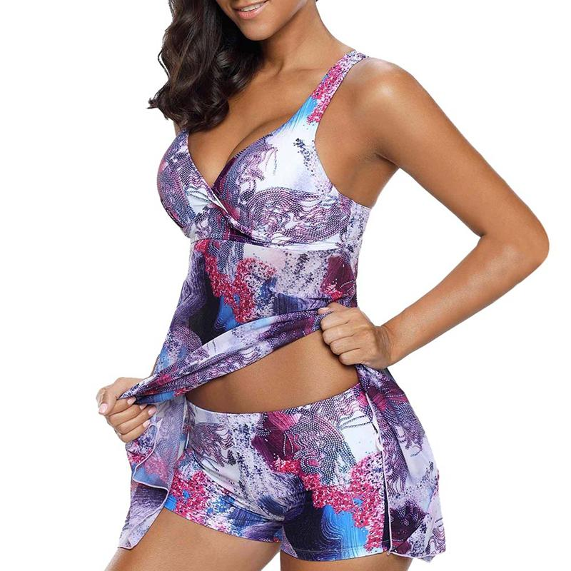 Womens Push Up Padded Tankini Plus Size Swimwear Swimsuit Cross Back Swim Tops Two Pieces Separate Bikini Bather Swimming Suit
