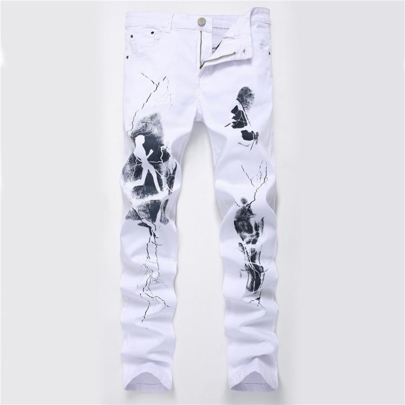 Hombre en blanco impreso Jeans Cartas Inglés Imprimir estiramiento ocasional delgado del dril de algodón para hombre Pantalones Hip hop marca Jean Pantalones 2020 Hot