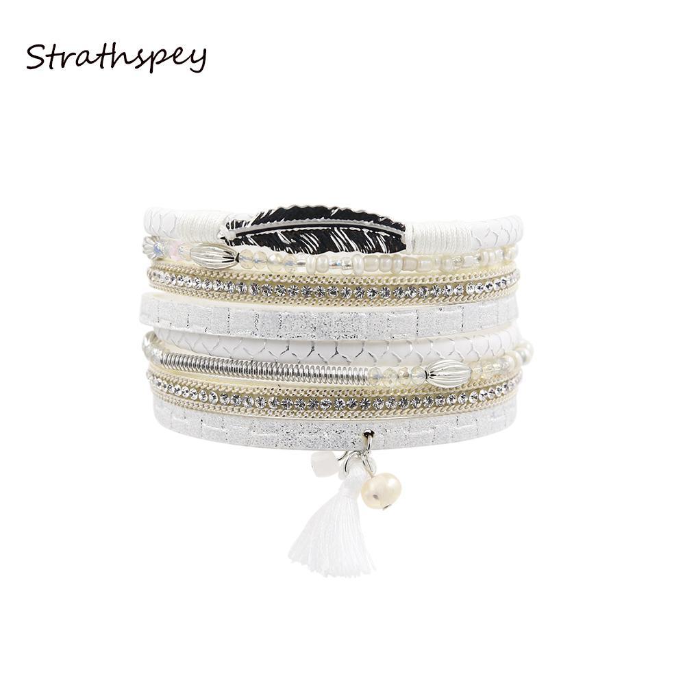STRATHSPEY Multilayer strass cuir pierre en cristal Perles longues Bracelet Bracelets feuilles Glands pour les femmes Bijoux Femme cadeau