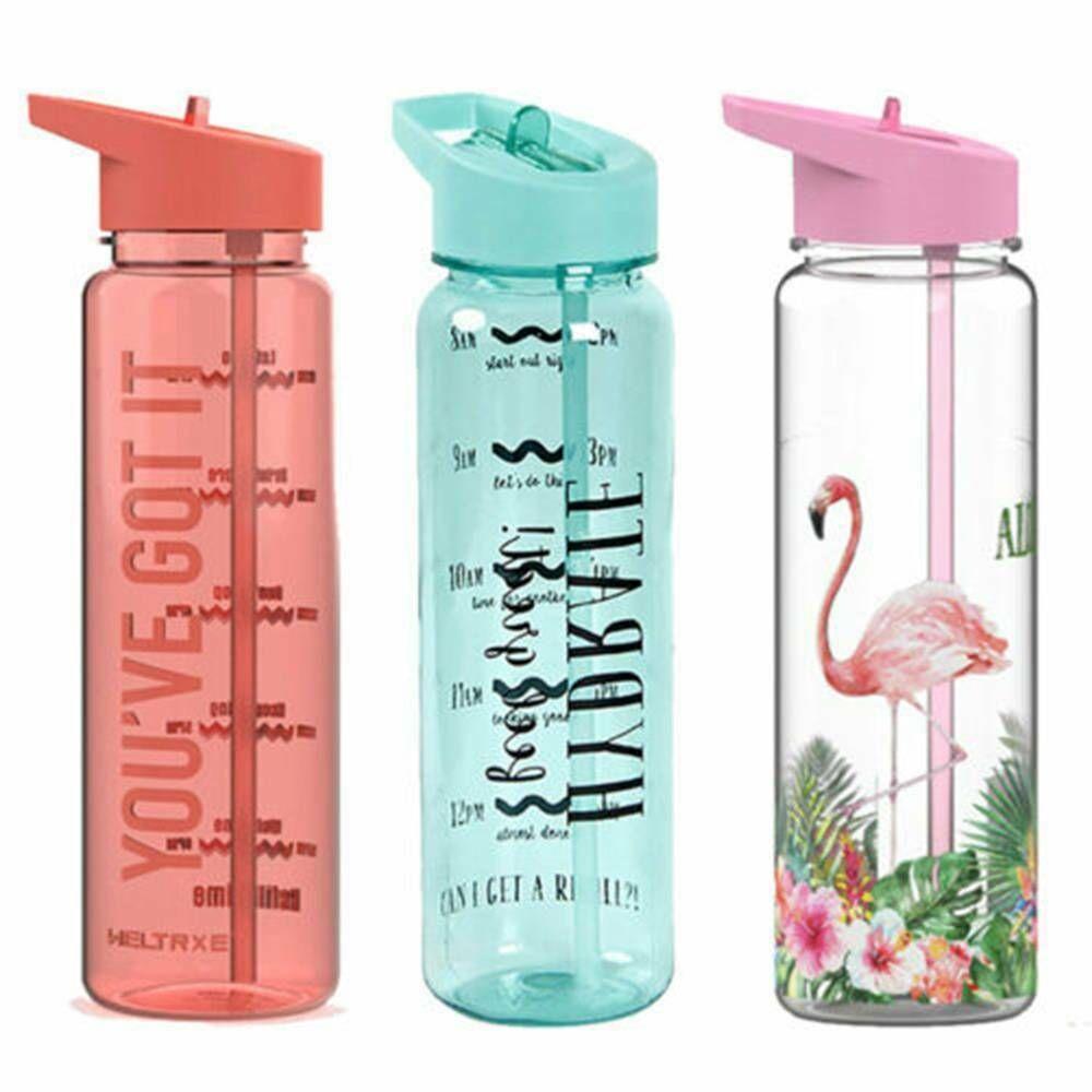 750ml Motivacional garrafa de água Sports Tempo Marcas Rastreador BPA Virar Taça Straw Flamingo Outdoor Três Cores