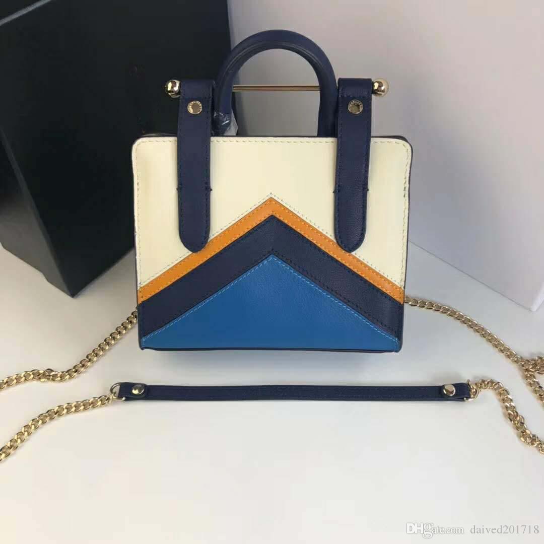 New European borsa signore di modo di lusso classico della moda della cartella della spalla la borsa, in pelle pura, mosaico lettera colore decorativo, fibbia.