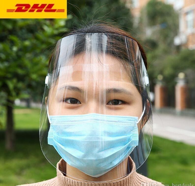 Nosotros stock, transparente máscara protectora completa mascherine ajuste careta de protección para los adultos de lluvias niño que monta cubierta de la cara de envío libre de la máscara de la cara