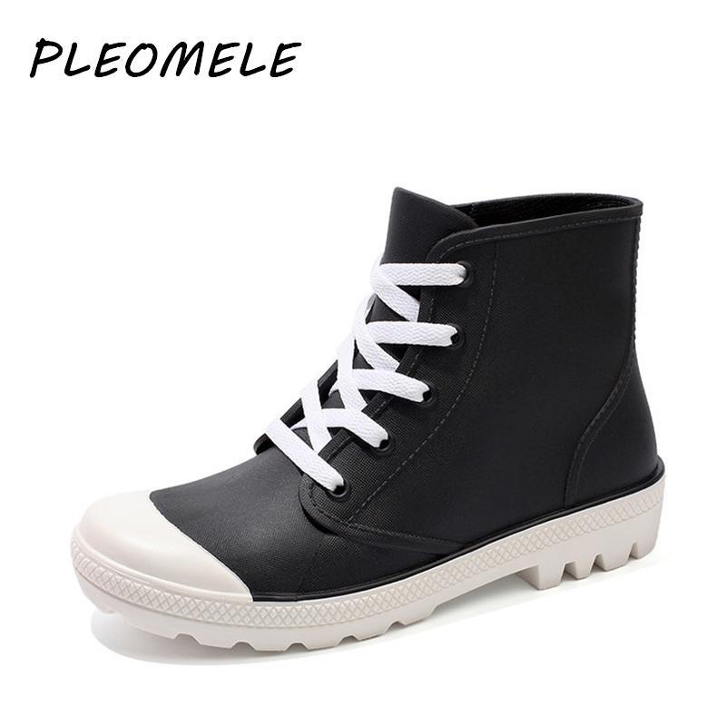 Женская резиновая обувь на шнуровке резиновый дождя ботинки женщин лодыжки плоские каблуки водонепроницаемый резиновая обувь вода обувь открытый сапоги