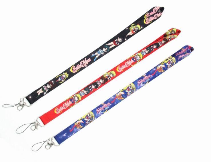 Anime Sailor Moon Key Lanyard Cosplay Badge Tarjetas de identificación Titulares Correas de cuello Llavero Llavero