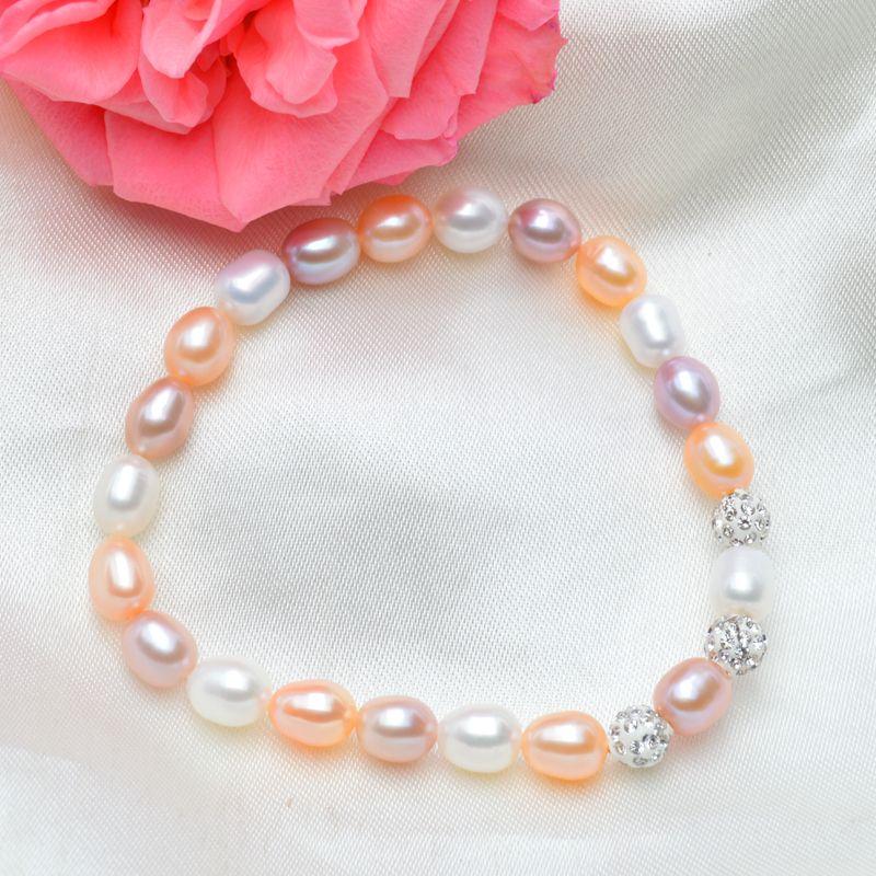 ASHIQI Genuine Multi Freshwater Pearl Charm Bracelets Natural Pearl 6MM bead for women gift