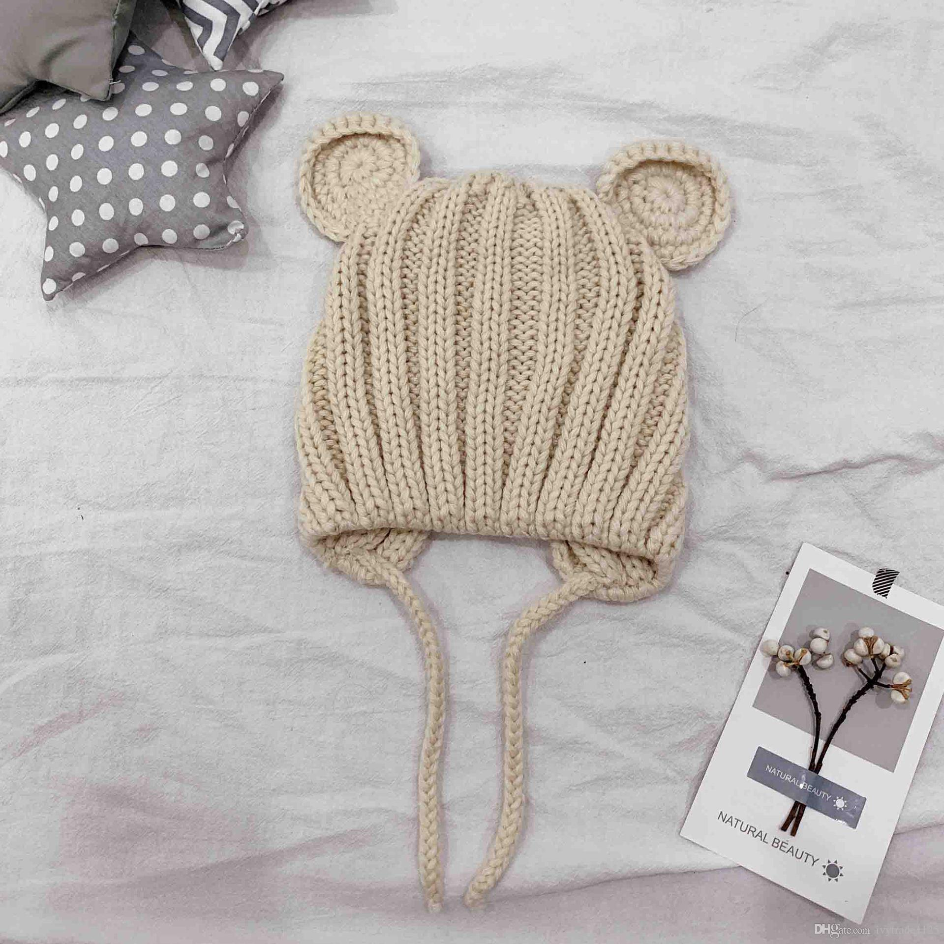 ألوان الحلوى للأطفال في فصل الشتاء الدافئ قبعة قبعة الكرة حك الكروشيه الفتيان الفتيات محبوك قبعة القط الأذن الدافئة