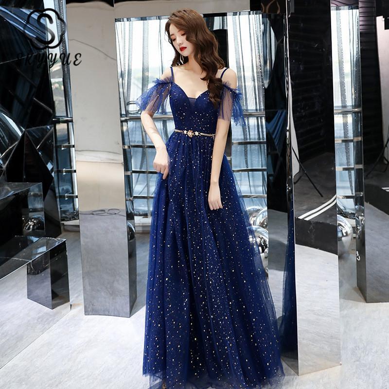 Bleu marine Robes de soirée Skyyue K281 Brillante Crêpe Boat Neck Robes de soirée formelle pour les femmes Une ligne Vestidos De Festa Longo