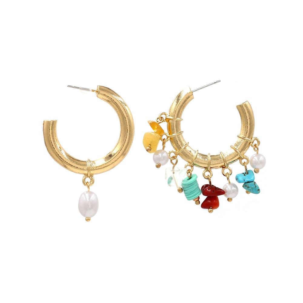 Joyería del partido de boda Declaración de los pendientes pendientes ZA Nueva moda Asimetría perla piedra gota pendientes para las mujeres redondo del círculo de oro