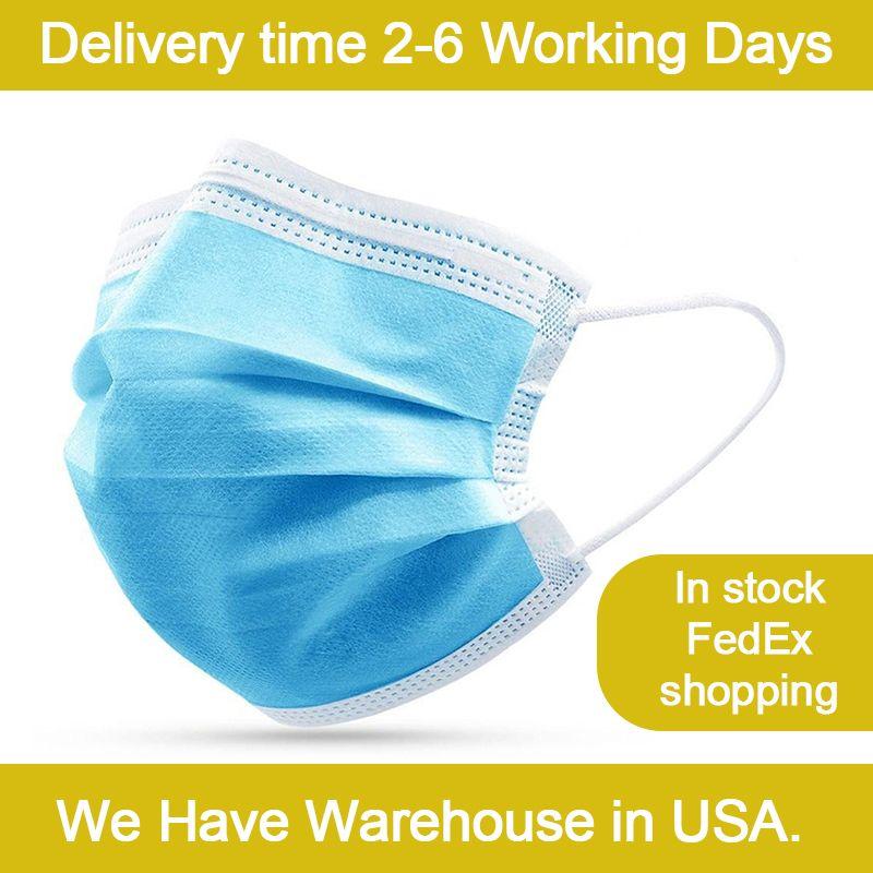 3ply à usage unique masque de protection du visage avec contour d'oreille et Meltblown filtre par boîte Stock 50pcs aux Etats-Unis Entrepôt