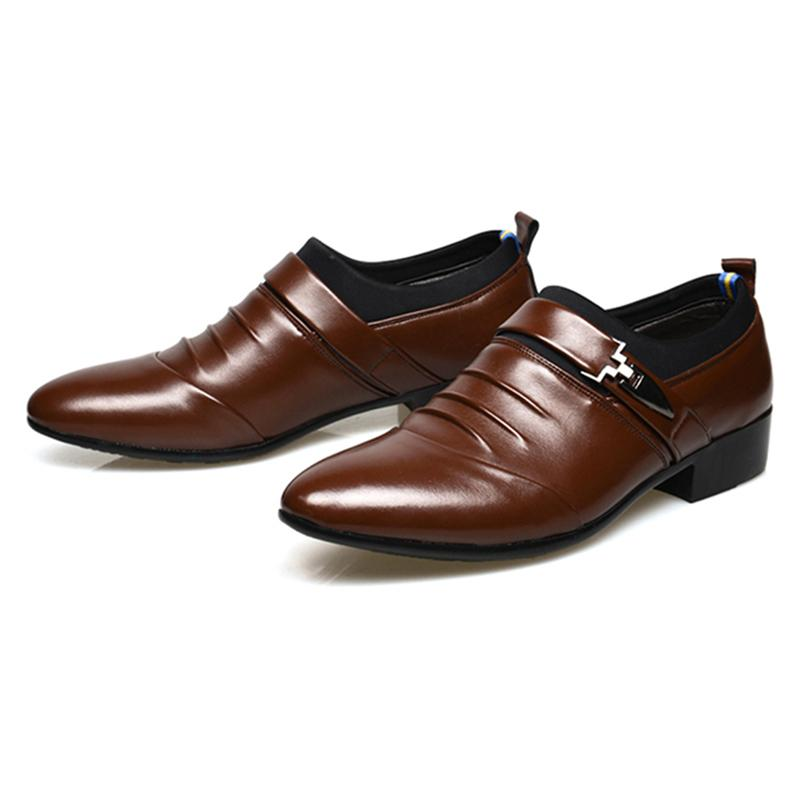 Size 45 Fashion PU Leather Men Dress Shoes Pointed Toe Bullock Oxfords Shoes For Men Slip On