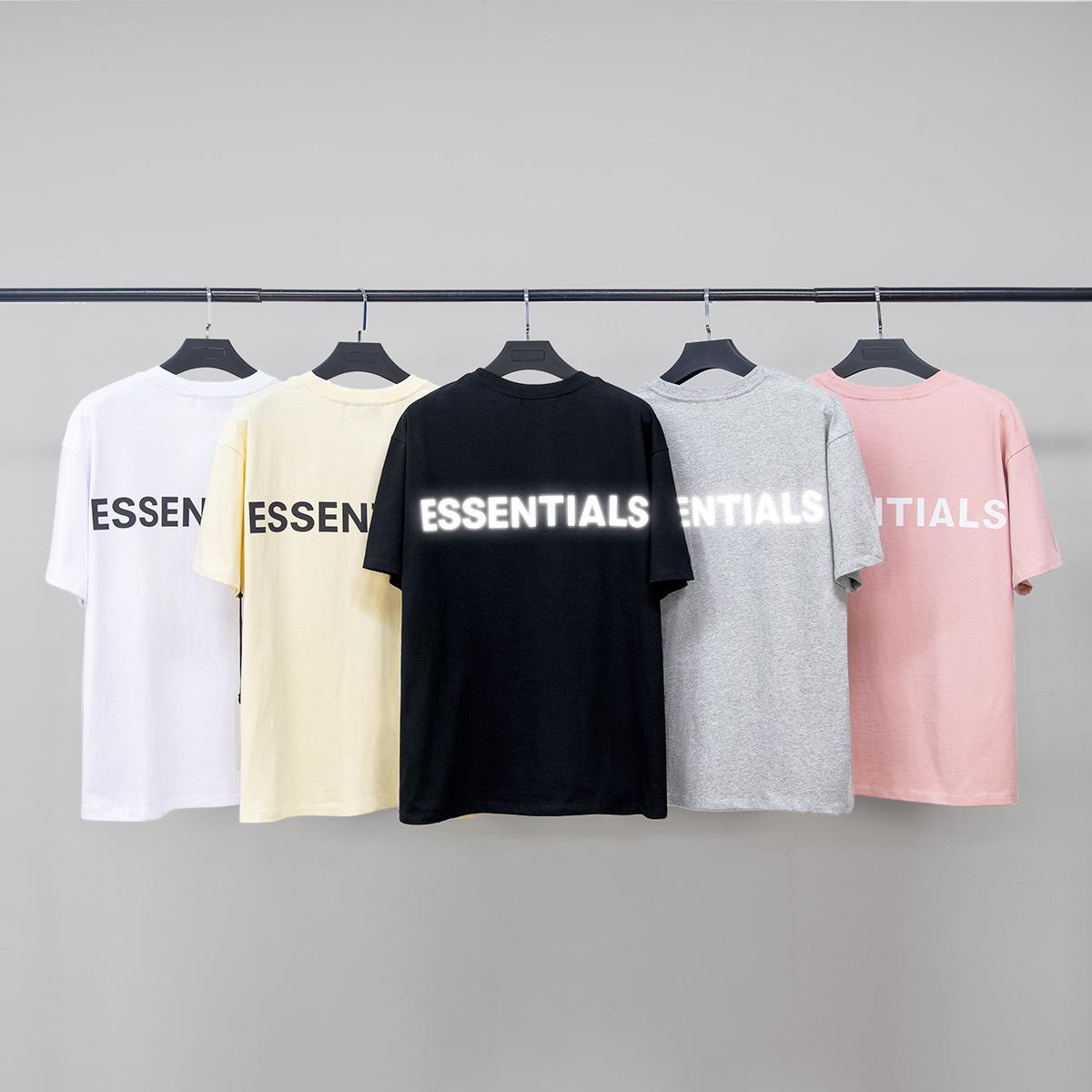 2020 FOG FEAR OF GOD Essentials 3M reflective double-line loose sports casual round neck short sleeve T-shirt men and women