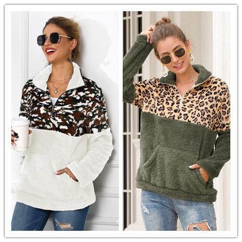 Designer Hoodie Women Leopard Camouflage Patchwork Pullover Zipper Sherpa Sweatshirt Long Sleeve Fleece Outwear Pockets Tops Winter Coat