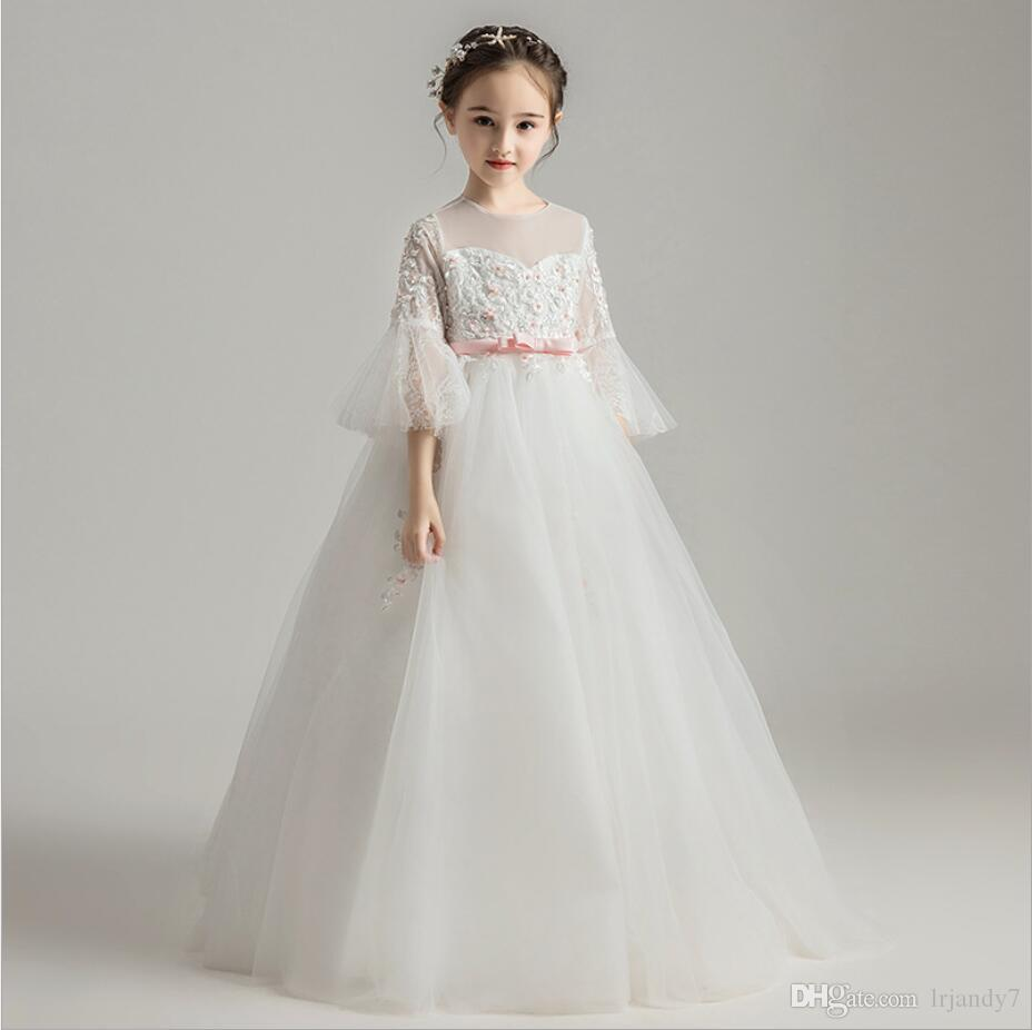 Flower Girl Bead Dress for Kid Wedding Bridesmaid Birthday Party Formal Dresses