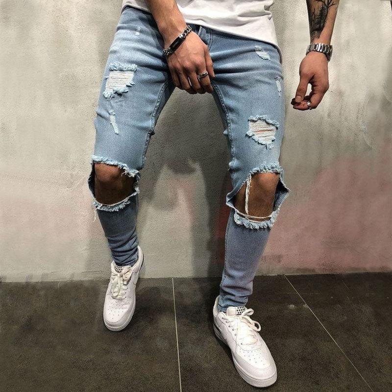Мода уличная мужская джинсы старинные синий серый цвет тощий уничтожены отверстие джинсы сломанные панк брюки Homme хип-хоп джинсы мужчины
