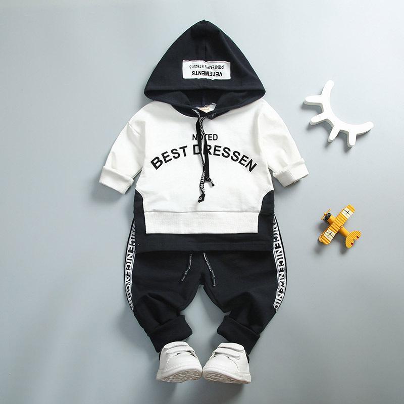 Bebé niño niña conjunto de ropa de algodón de alta Qulity Kids Toddler Clothes carta con capucha traje para niño de manga larga 1-4years primavera Y190518