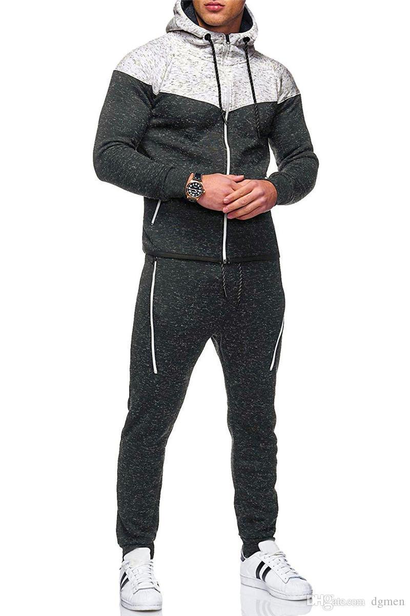نصب منصة مصمم رجالي رياضية موضة زيبر جيوب سروال نصب منصة طويل مقنع الرجال 2PCS مجموعات عارضة الذكور الملابس