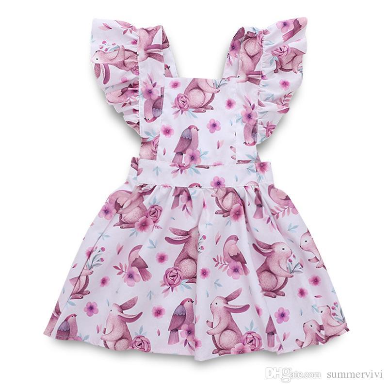 INS novas meninas coelho impresso vestido de crianças falbala voar vestido de manga crianças toddlers voltar lace-up arcos plissados drss meninas roupas de algodão A01512