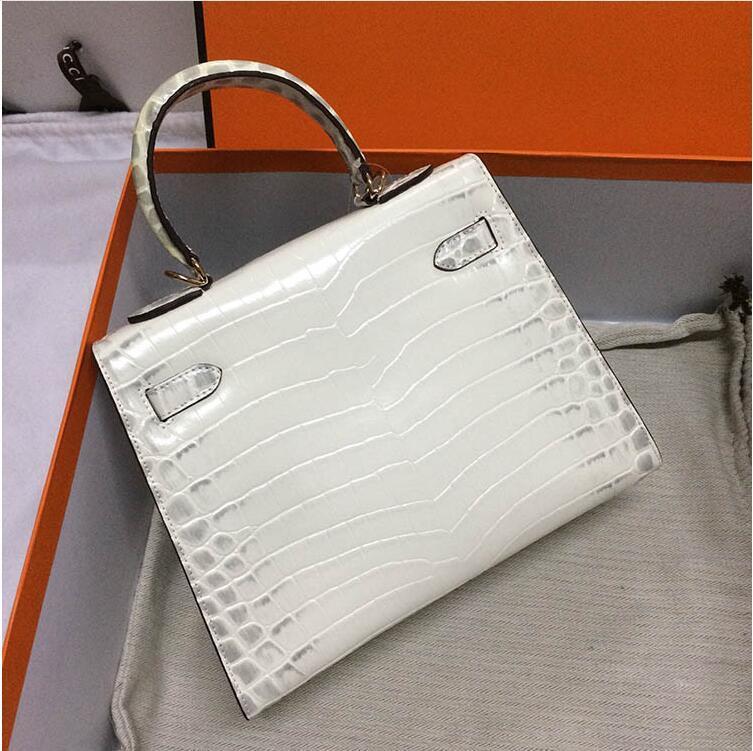 Görüntü Bayan Fabrika Çanta Toptan Çanta Kadın Hakiki Deri Timsah Bayan Beyaz Moda 2021 25 cm Çanta 28 cm Gerçek Totes RWRFE