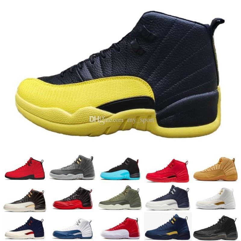 Yeni Stil Ters Taksi Oyunu Kraliyet 12 12s Basketbol Ayakkabı FIBA Bumblebee GS CNY Michigan Beyaz Gri Gym Kırmızı Erkek Eğitmenler Tasarımcı Sneakers