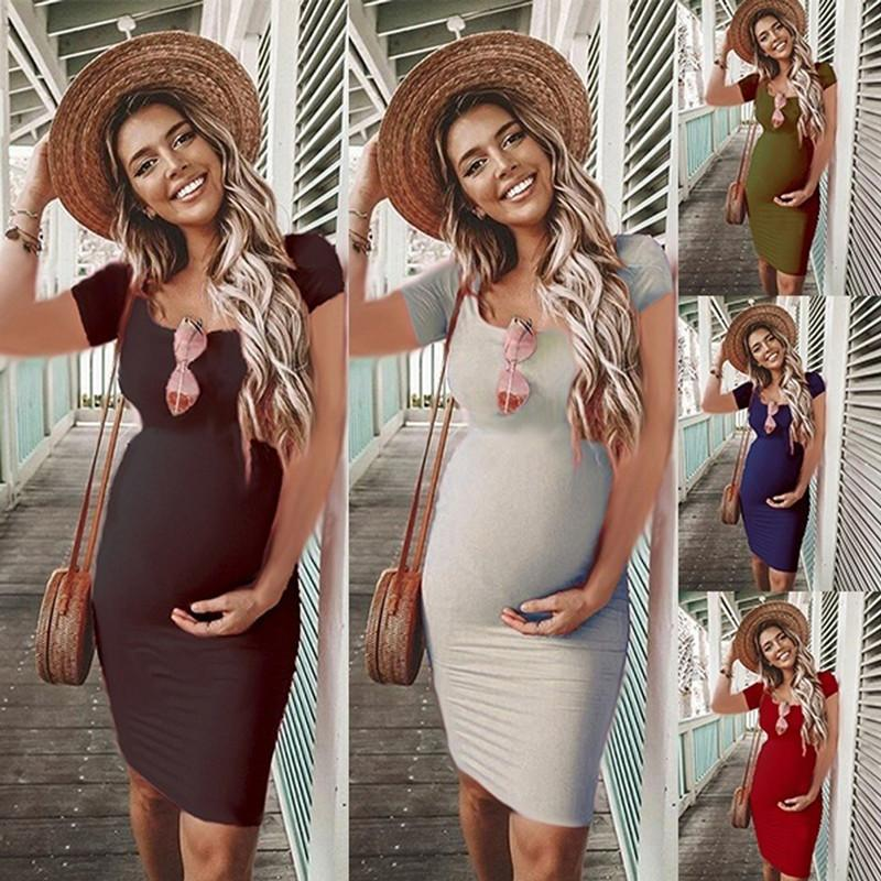 bunvel Summer Bodycon Pregnant Women Sundresses Solid Maternity Clothes Short Sleeve Pregnancy Dresses Premama Wear Clothing