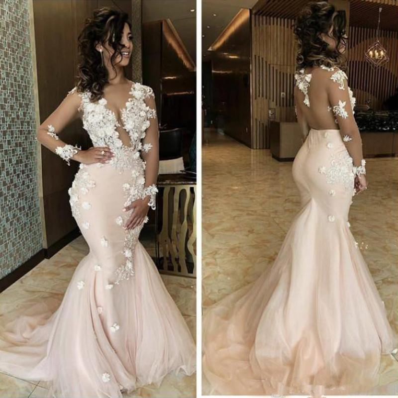 2020 Sexy Mermaid Prom Dresses Sheer Neck Lace 3D Appliques Beaded Long Sleeves Sweep Train Backless Evening Party Wear Pageant Gowns