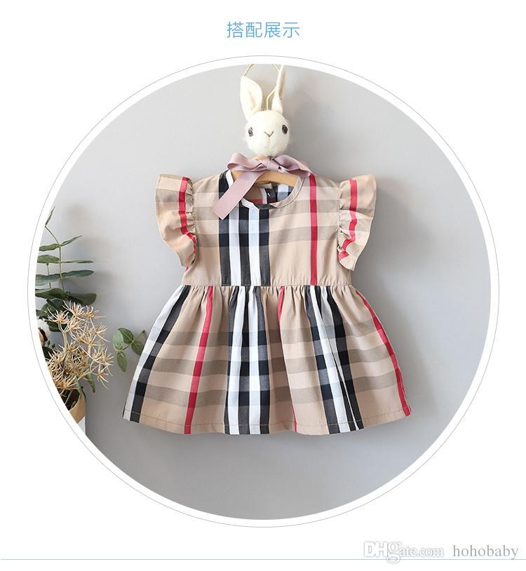 abiti moda per ragazze neonate estive Plaid derss neonate abiti estivi per bambini abiti per bambini principessa.