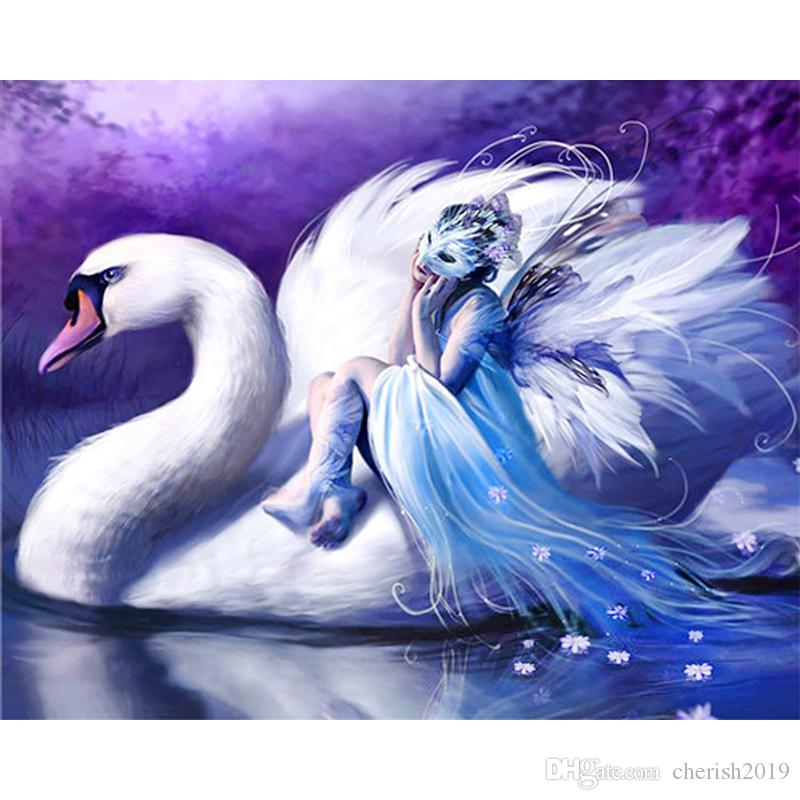 5D DIY full diamond painting swan handicraft painting diy round or square drill diamond embroidery cross stitch kits home decoration gif