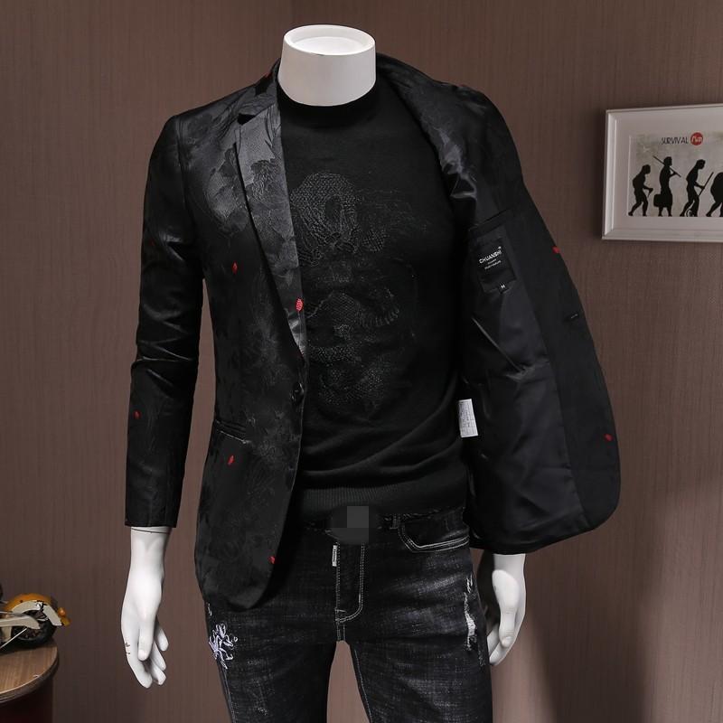 Gli uomini di marca ricamo Slim singolo pulsante Giacca autunno festa di nozze Affari Blazer nero cappotti corti Plus Size